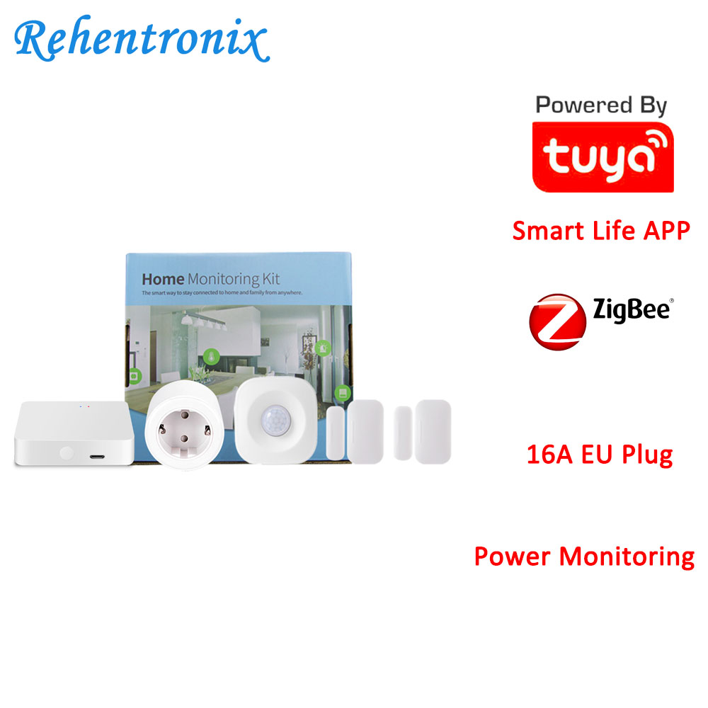 Tuya Smart Home ZigBee Hub PIR Motion Detector Door Sensor EU Type 16A Power Energy Smart Monitoring Kit