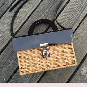 Image 4 - Fashion new acrylic flip straw braided bag wooden handle woven bag handmade holiday travel rattan bag