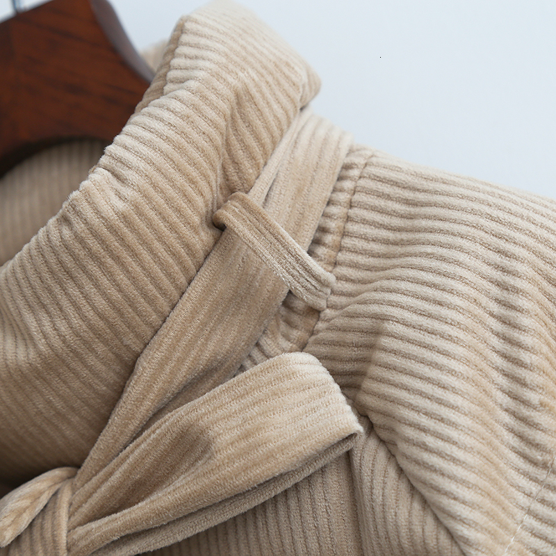 Parkas de pana espesantes para mujer moda Casual abrigo suelto amarillo verde con cremallera de algodón para mujer chaqueta de gran tamaño - 4