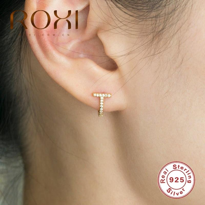 ROXI T-shaped Zircon Crystal Pendientes Earrings for Women Wedding Luxury 925 Sterling Silver Hoop Earring Kolczyki Jewelry