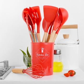 1 9 11 sztuk zestaw przyborów do gotowania Premium Red silikonowe akcesoria do gotowania zestaw ze schowkiem Turner Tongs łopatka łyżka do zupy tanie i dobre opinie Ekologiczne Zaopatrzony Ce ue Lfgb C232 Zestawy narzędzi do gotowania Cooking Tool Sets Silicone + Wooden Handle Handle Portable