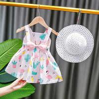 Vestido con dibujo de flamenco con lazo para bebé y niña, conjunto de ropa infantil sin mangas, traje de princesa, trajes para fiesta de cumpleaños