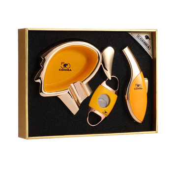 COHIBA 50th Anniversary Edition Cigar Scissors Lighter Three-piece Ashtray High-end Set Gift Box