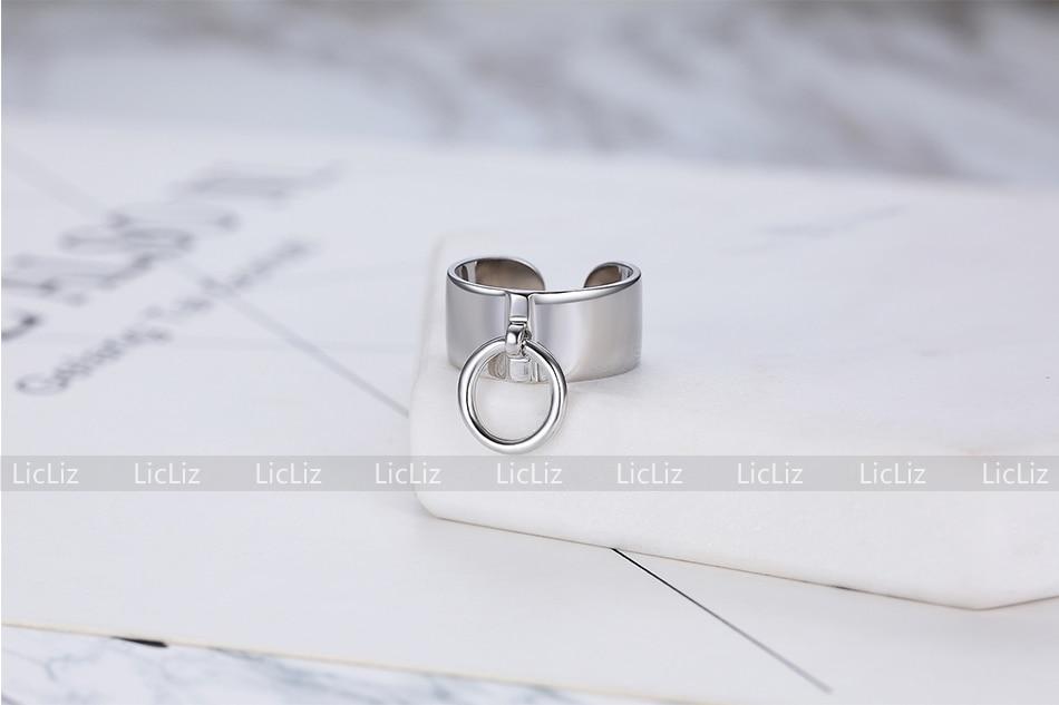 H17b0bcae59f747cf80ba2b87d022f4a1m LicLiz 2019 925 Sterling Silver Big Open Adjustable Ring for Women Men Plain White Gold Jewelry Joyas de Plata 925 Bijoux LR0329
