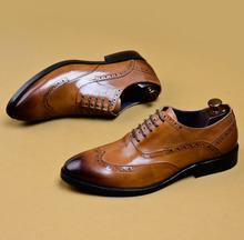 QYFCIOUFU Italian Mens Dress Shoes Genuine Leather Brogue Shoes Fashion Retro Party Formal Business Wedding Office Shoes For Men