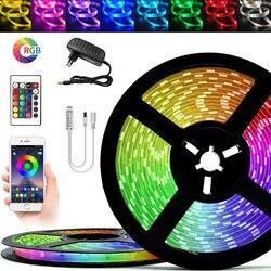 Светодиодный полоски светильник Bluetooth RGB SMD 5050 2835 Водонепроницаемый 5, 10 м, 15 м, 20 м Luces DC12V Мощность светодиодный для комнаты лента неоновая лен...