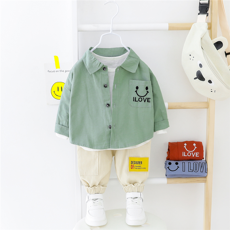 HYLKIDHUOSE Baby Boys Clothing Sets 2020 Spring Love Shirt Pants Casual Children Kids Clothes Toddler Infant Vacation Clothing