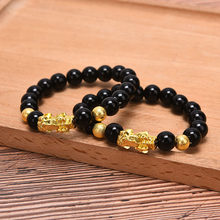 Unisex Feng Shui obsydian bransoletka z koralików nadgarstek złoty czarny Pixiu bogactwo i powodzenia bransoletka
