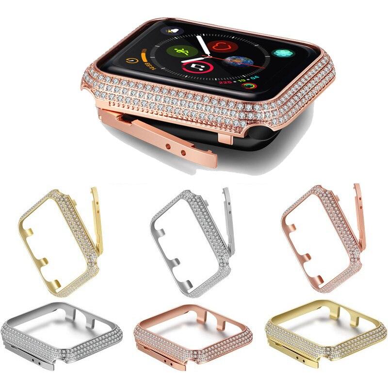 Novo diamante de cristal luxo assista caso capa para apple watch 4 44mm 40mm proteção apple assista 42mm 38mm para iwatch series 3 2 1