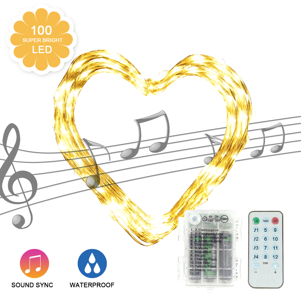 Music String Light 3AA Battery Box LED Garland Light Outdoor Christmas Fairy Lights Warm White