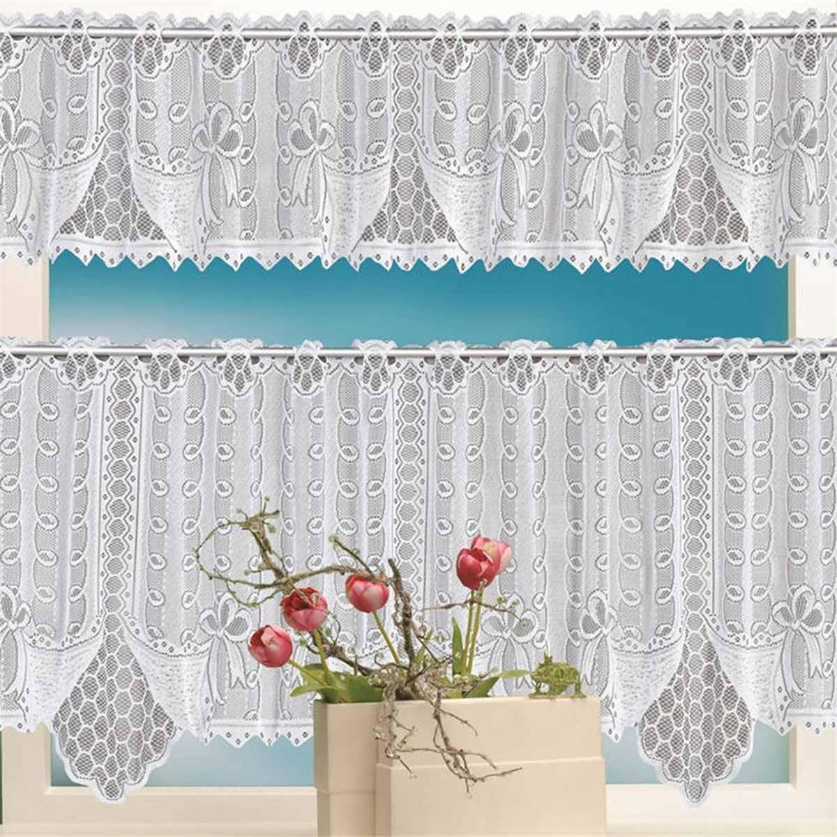 New 2pcs Elegant Lace Coffee Cafe Window Tier Curtain Kitchen