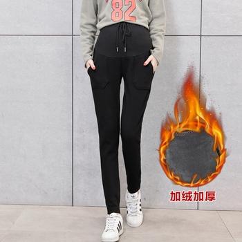 Spodnie damskie w ciąży nowa jesienna i zimowa koreańska wersja luźnego sportu i wypoczynku oraz aksamitne spodnie ciążowe o wysokiej talii tanie i dobre opinie SexeMara COTTON Macierzyństwo 1002-40-8586 WOMEN Suknem Natural color skinny Kieszenie