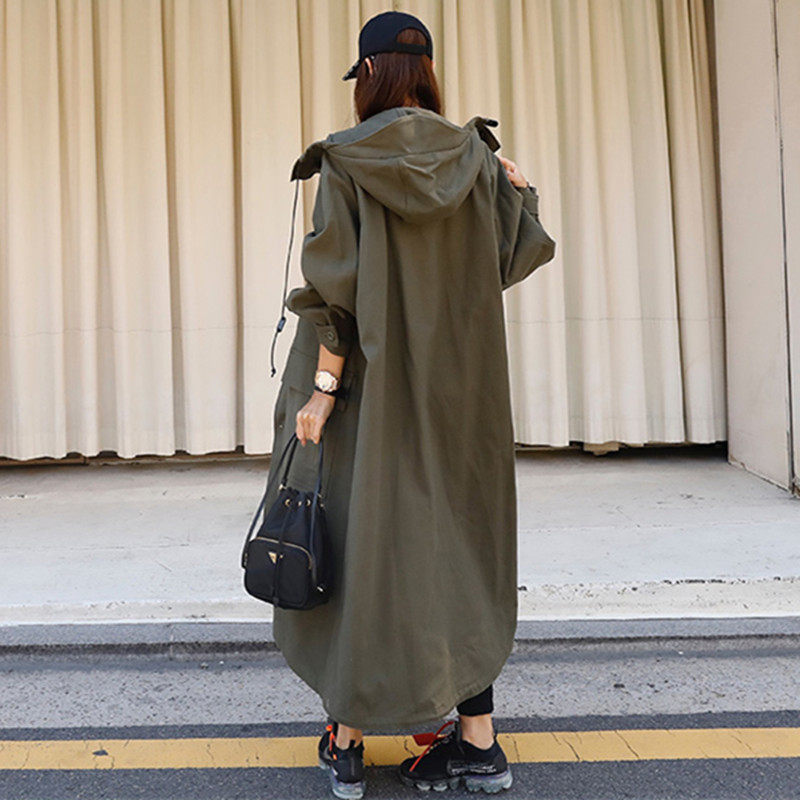 Autumn Spring New Korean Trench Coat Army Green Women's Windbreaker Loose Plus Size Hooded Cloak Harajuku Chaqueta Mujer F2527