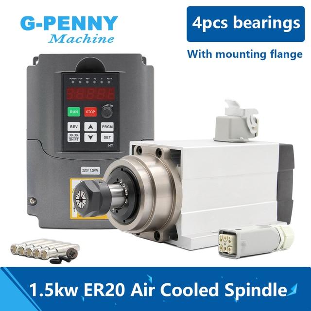1.5kW ER20 Air Cooledมอเตอร์แกนสแควร์ประเภทหน้าแปลนAir Coolingแบริ่ง 4 pcs 0.01 มม.& HY 1.5kWอินเวอร์เตอร์/VFD