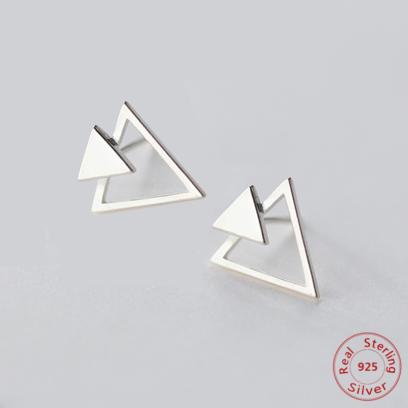 100% Real 925 Sterling Silver Triangle Stud Earrings Minimalist for Women Korean Jewelry Accessory Party Gift