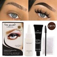 1 Set Natural Eyebrow Eyelash Professional Color Dye Tint Cream Kit 15-minute Fast Tint Brown & Black Easy Dye Tattoo Waterproof