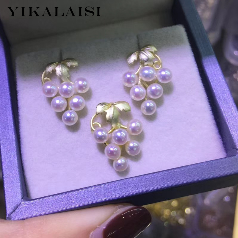 YIKALAISI 925 Sterling Silver Jewelry Grape Pearl Sets 2020 Fine Natural Pearl Jewelry 3-4mm Sets For Women Wholesale