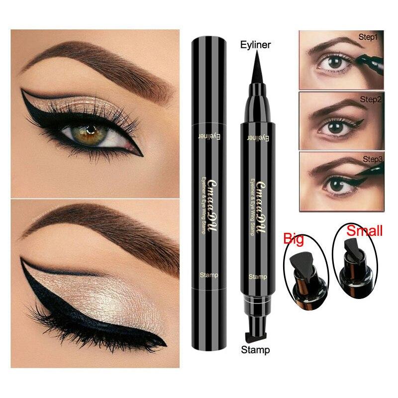 CmaaDu, 2в1, подводка для глаз, штамп, жидкая подводка для глаз, карандаш, супер водонепроницаемый, черный, с двумя головками, подводка для глаз, б...