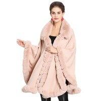 Fashion Women Furry Cape Plus Size Knit Wrap Scarf Shawl Cape Coat With Luxury Faux Fur Collar Wrap Poncho Shawl Winter