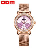 DOM Luxury Brand Women Watch Rose Gold Steel Quartz Ladies Watches Rhinestone Sapphire Crystal Dress Relogio Faminino G 613G 6M