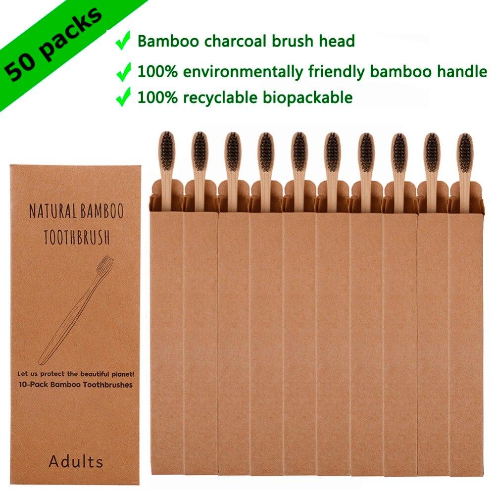 50pcs Toothbrush Eco-friendly Rainbow Bamboo Soft Fiber Toothbrush Biodegradable Teeth Brush Solid Bamboo Handle Toothbrush
