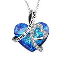 I Love You Forever Heart Pendant Necklace with Blue Crystals Jewelry for Women Girl Valentine Gift Love Heart Pendant Necklace недорого