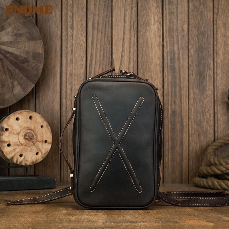 PNDME vintage genuine leather multi-function men's chest bag shoulder messenger bags designer cowhide teen fashion handbags