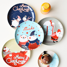 8 Inch Christmas Round Bone China Plate Cartoon Ceramic Dinner New Year Steak Fruit Nuts Tray Household Snack Dishes