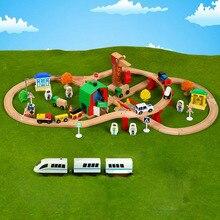 עץ רכבת מסלול סט עץ רכבת ב פאזל עם וחברים מסלולי מעבר רכבת עץ חיוניות רכבת צעצועים לילדים מתנות