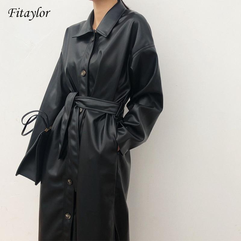 Fitaylor PU Leather Long Jacket 2021 New Spring Women Loose Belt Faux Leather Windbreaker Trench Coat Slim Spring Jacket