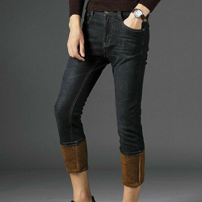 Mens Winter Denim Pants Jeans Fleece Lined Warm Straight Leg Trousers Thicken Long Pants Plus Size FEA889
