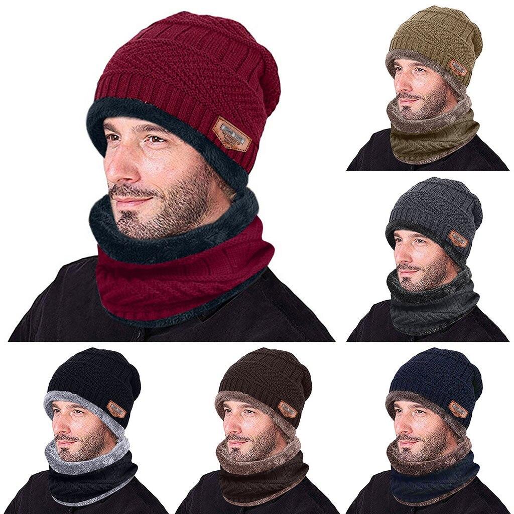 Men Warm Skullies Beanie + Soft Scarf Two-Piece Set Winter Thicken Hat Male Windproof Knitting Caps Neck Warmer