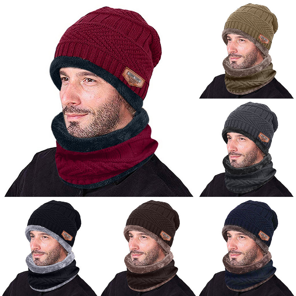 Fashion Hat And Scarf Men Warm Beanie Winter Thicken Hat And Scarf Two-Piece Knit Windproof Caps Winter Accessories