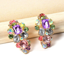Wholesale ZA Fully Studded With Crystals Accessories Earrings Statement Colorful Set Drill Jewelry Pendientes For Women
