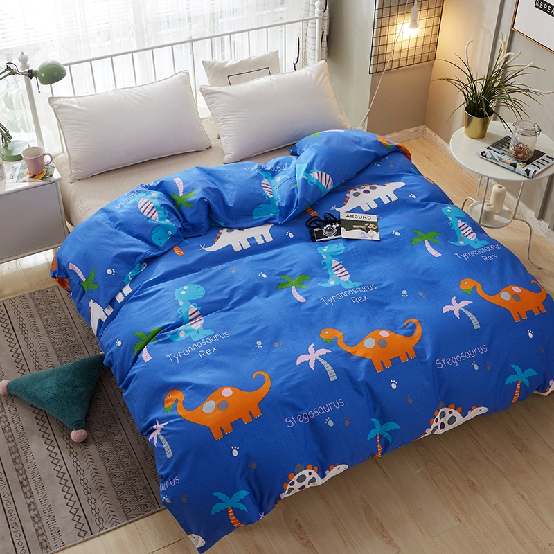 Home Textile 1pc Blue Cartoon Dinosaur Printed Duvet Cover 100% Cotton Fabric Quilt Cover Boy Girl Bedroom Bedclothes Bed Linens