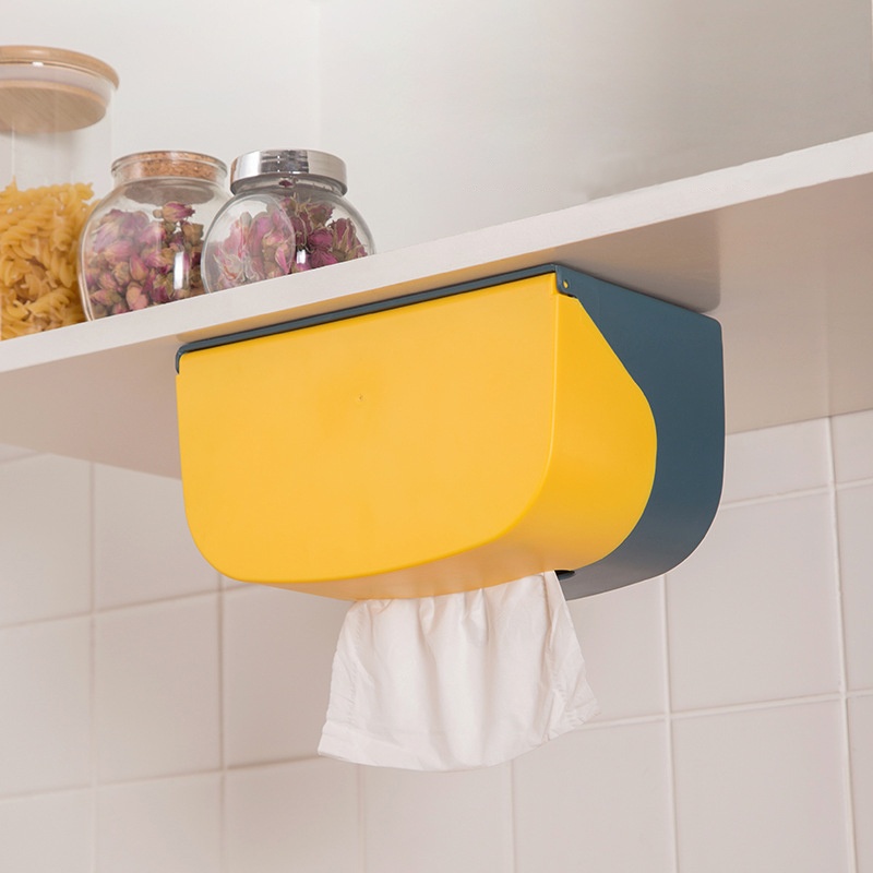 Bathroom Toilet Paper Holder Kitchen Paper Tissue Box Plastic Toilet Dispenser Wall Mounted Roll Paper Storage Box Free Punching