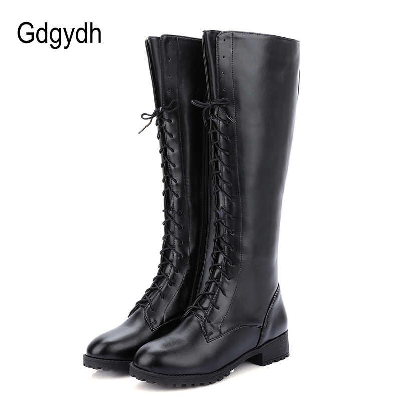 Gdgydh 2019 yeni bağlama kış diz yüksek çizmeler kadın yüksek topuklu fermuar sonbahar kauçuk taban kahverengi topuk uzun çizmeler ayakkabı büyük boy 43
