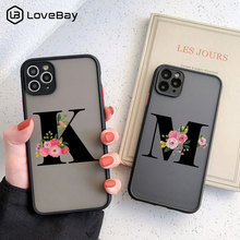 Camera Protection Initial Letter Phone Case For iPhone 11 12 Mini Pro Max X XS XR 7 8 Plus SE 2020 Flower Clear Matte Hard Cover