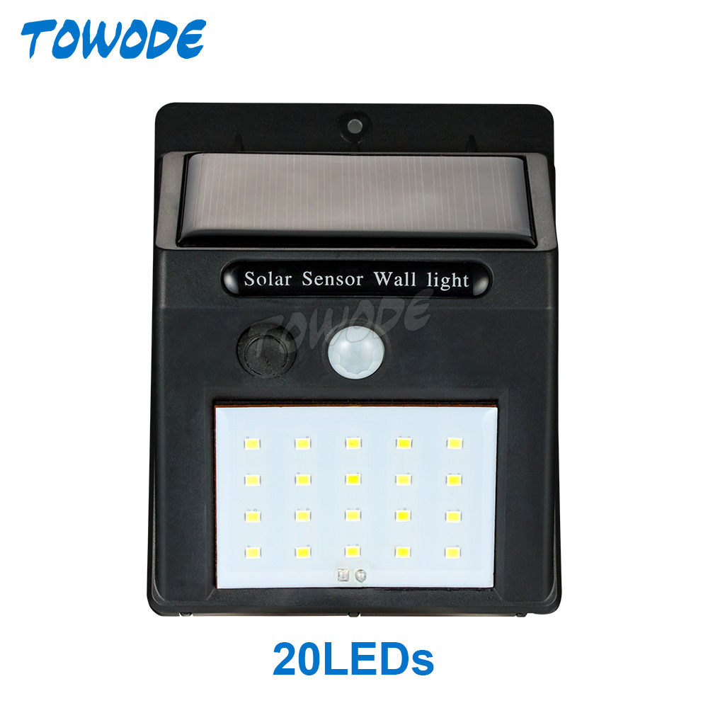 Towode Solar Street Lamp 20 Leds IP65 Outdoor Waterproof Wall Light Energy Conservation And Environmental Protection Grade