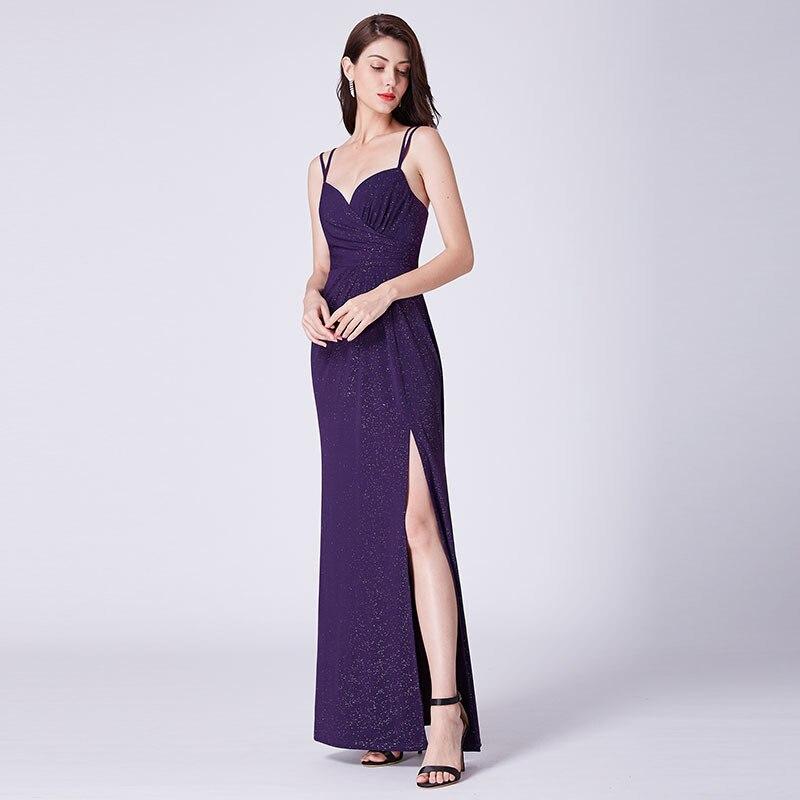 Modecrush Women Floor Length V Neck Shimmery Evening Dress 2019 Ladies Vestido Longo Festa Noite with High Split