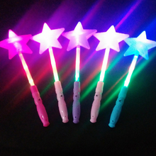 Fashion LED Flashing Glow Stick Wand Five-pointed Star Fairy Kids Toy Xmas gifts Children Girls Magic