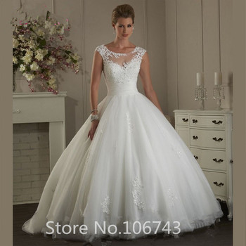 2018 White Lace Applique Wedding Dresses Ball Gown Bridal Gowns Tulle Open Back Sweep Train Vestido De Noiva ball gown wedding dresses 2019 elegant lace appliques tulle wedding gowns long sleeve bridal dresses white vestido de noiva