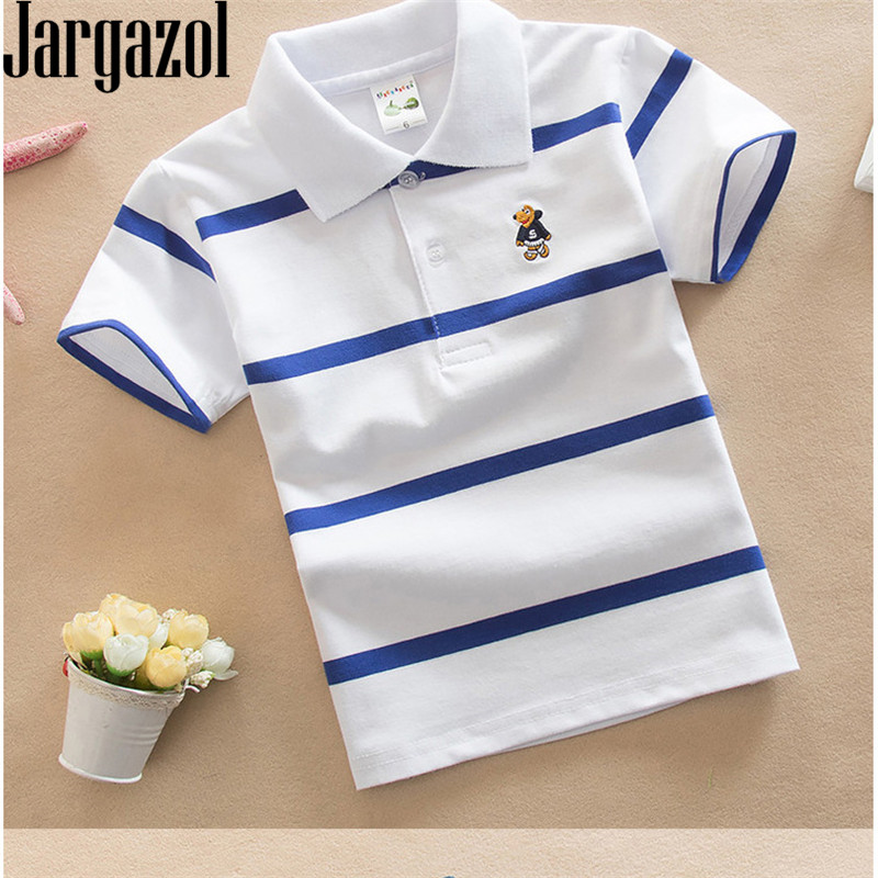 Jargazol t-shirt enfants vêtements col rabattu bébé garçon haut d'été t-shirt couleur rayures Vetement Enfant Fille Camisetas Fnaf