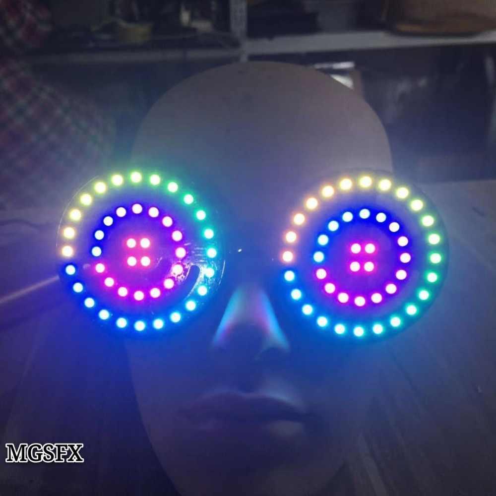 High Quality Usb Recharge Led Glasses Light Up Goggles Rainbow