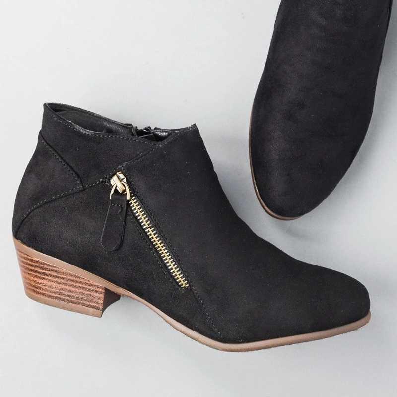 Kadın yan fermuar çizmeler moda süet düşük topuk ayakkabı kadın kısa çizmeler kare topuklu rahat yarım çizmeler artı boyutu 43 botas mujer