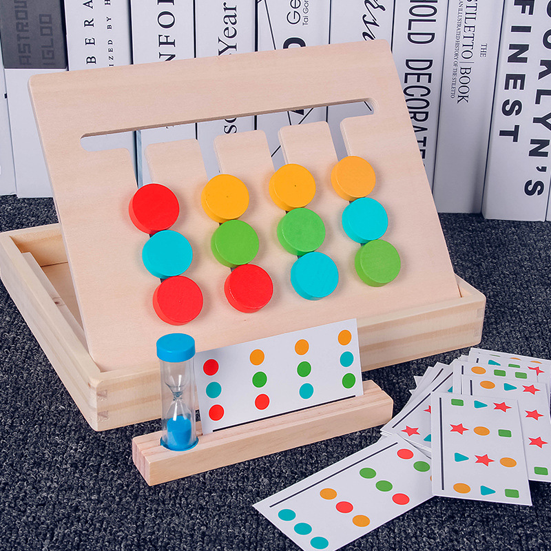 Montessori 4 Colors Matching Training Thinking Toys Early Educational Math Color Matching Toys Toddler Children Wooden Toys