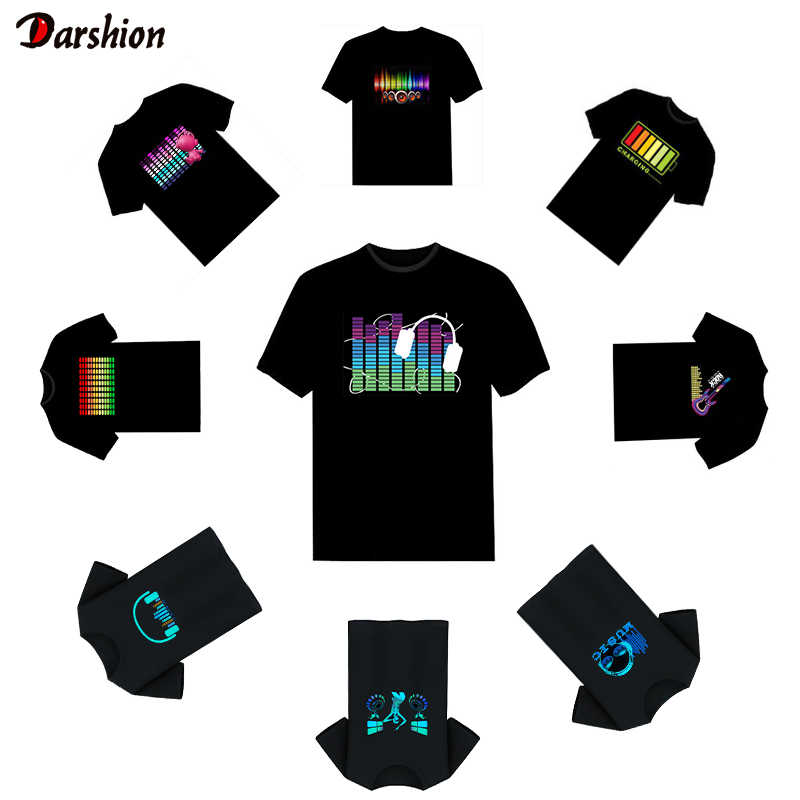 Hot Led T Shirt Mannen Party Rock Disco Dj Sound Activated Led T Shirt Light Up En Down Flashing Equalizer mannen Gloeiende Tshirt