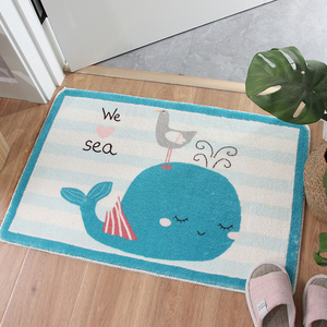 Image 2 - Cartoon Blue whale Shaggy Doormat Anti skid Latex Bottom  Machine Wash Bathroom Kitchen Rug Carpet Indoor Entrance Floor Mat