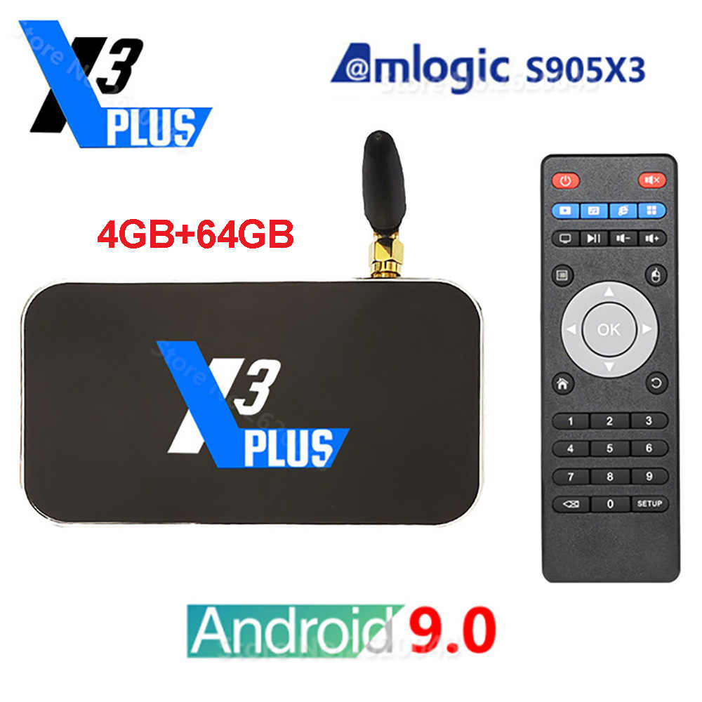 UGOOS Marke X3 Plus Android 9,0 Smart Tv Box Amlogic S905X3 Set Top Box 4GB DDR4 64GB 2,4G 5G Wifi 1000M Bluetooth X3 Pro TV Box