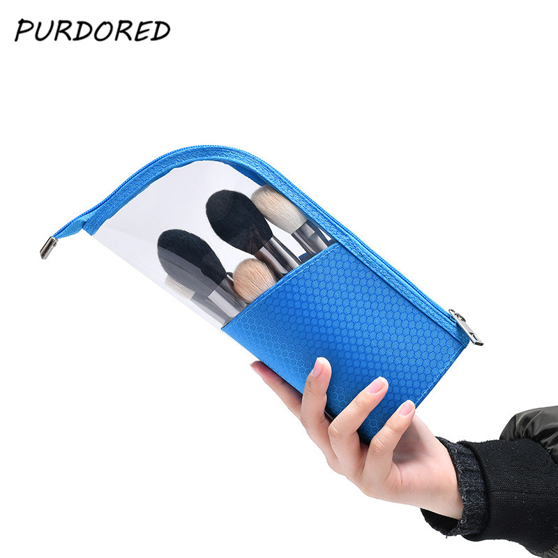 PURDORED 1 Pc Portable Waterproof  Women Make Up Bag  Stand-up Cosmetic Brush Bag Half Travel Clear Cosmetic Bag Organizer